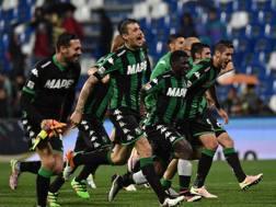 La festa del Sassuolo al Mapei a fine campionato. Getty