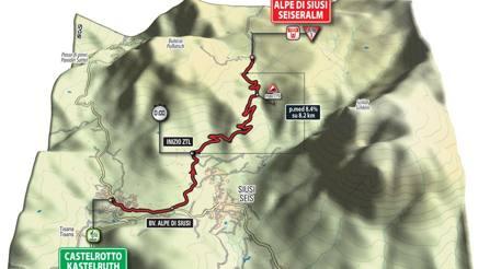 Il tracciato della cronoscalata Castelrotto-Alpe di Siusi