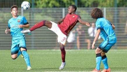 Abdullahi Nura, 18 anni, contro il Barcellona in Youth League. Getty Images