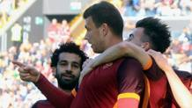 Da sinistra, Mohamed Salah, Edin Dzeko e Stephan El Shaarawy, attaccanti della Roma. Ansa