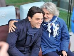 Massimo Ferrero con Vincenzo Montella. LaPresse