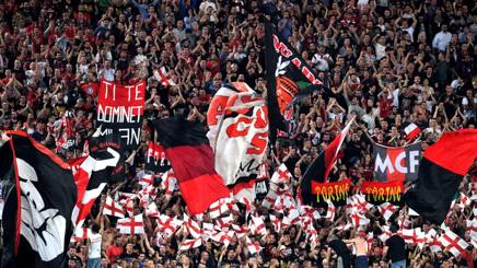 La Curva Sud rossonera all'Olimpico per la finale di Coppa Italia. LaPresse
