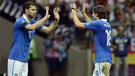 Thiago Motta e Montolivo in azzurro.Epa