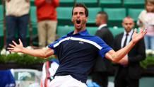 L'urlo di soddisfatta sopresa di Albert Ramos-Vinolas. Getty Images