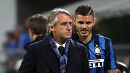 Roberto Mancini e Mauro Icardi, tecnico e stella dell'Inter. Ansa