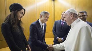 George Clooney, Richard Gere e Salma Hayek dal Papa