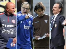 Da sinistra: Jorge Sampaoli, Marcelo Bielsa, Simone Inzaghi, Cesare Prandelli