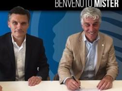 Gian Piero Gasperini, 58 anni, ex tecnico del Genoa, firma il contratto con l'Atalanta. Twitter