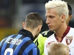Mauro Icardi e Maxi Lopez nell'ultimo Inter-Torino. LaPresse