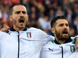 Leonardo Bonucci e Antonio Candreva. Getty