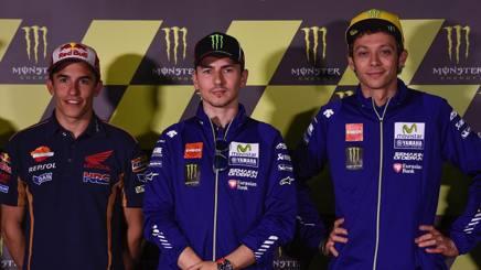 Marquez, Lorenzo e Rossi in conferenza. Afp
