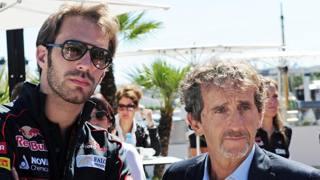 Alain Prost e il pilota francese collaudatoreJean-Eric Vergne della scuderia Toro Rosso nel 2013