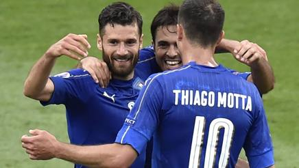 I tre calciatori della Nazionale Candreva, Eder e Thiago Motta. Afp