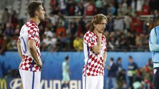 La delusione di Marko Pjaca e Luka Modric. Reuters