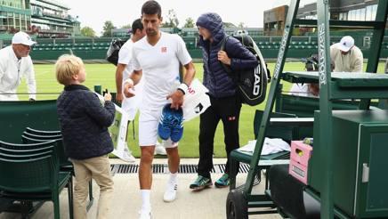 La pioggia interrompe l'allenamento di Novak Djokovic, campione uscente. Getty Images