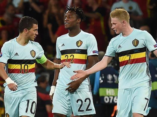 Eden Hazard, Michy Batshuayi e Kevin De Bruyne. Afp