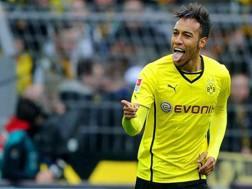 L'attaccante del Borussia Dortmund Pierre-Emerick Aubameyang. Epa