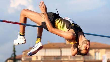 Gianmarco Tamberi, 23 anni, esulta dopo il 2.36 a Rieti COLOMBO