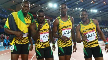 Da sinistra: Usain Bolt, Nickel Ashmeade, Kemar Bailey-Cole e Jason Livermore. Getty