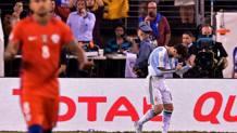 Leo Messi dopo il rigore sbagliato. Afp