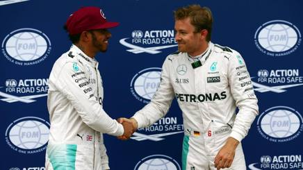 Hamilton e Rosberg, compagni alla Mercedes. LaPresse