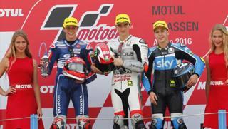 Bagnaia, Di Giannantonio e Migno: podio tricolore in Moto3 ad Assen. LaPresse