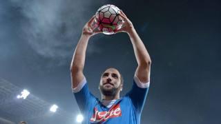 Gonzalo Higuain, 28 anni, attaccante argentino del Napoli. LaPresse