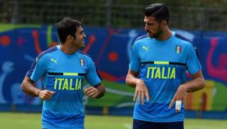 I due attaccanti della Nazionale Eder e Graziano Pell�. Getty