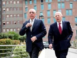 L'a.d. del Milan Adriano Galliani con il presidente di Mediaset Fedele Confalonieri. Ansa