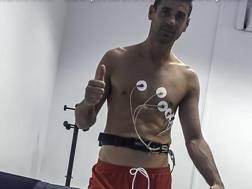 Albano Bizzari, 38 anni, durante le visite mediche con il Pescara