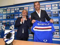 Marco Giampaolo, 48 anni, con Massimo Ferrero. Ansa