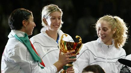 Leggeri (sx) con la Coppa del Mondo 2002 al centro Togut e poi Mello
