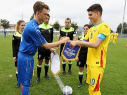 Ionut Hagi, numero 10 e capitano della Romania Under 18 (contro Federico Giraudo del Torino). Getty Images