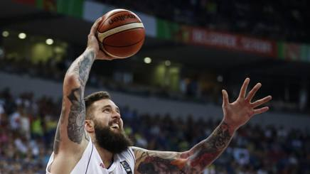 Miroslav Raduljica, 28 anni,  7.8 punti nel torneo Preolimpico vinto dalla Serbia a Belgrado. GETTY
