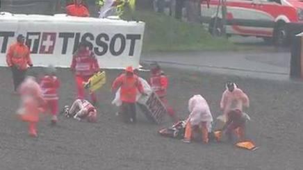 La caduta di Marc Marquez nel warm up del GP di Germania. MotoGP.com