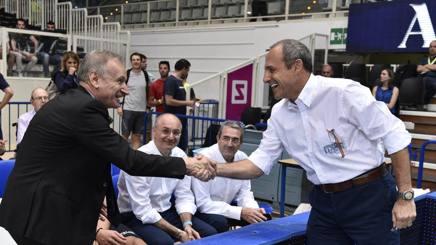 Il presidente federale Gianni Patrucci e il tecnico Ettore Messina. Ciamilo
