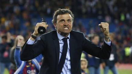 L'esultanza di Luis Enrique per la vittoria in Coppa del Re, contro il Siviglia. LaPresse