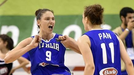 Cecilia Zandalasini festeggia con Francesca Pan dopo la tripla del 69 pari