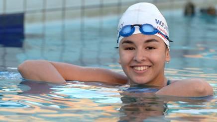 Daniah Hagul, 17 anni, l'unica nuotatrice libica in gara a Rio. Afp