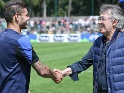 Mauro Icardi, 23 anni, con Massimo Moratti