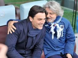 Vincenzo Montella con Massimo Ferrero. LaPresse