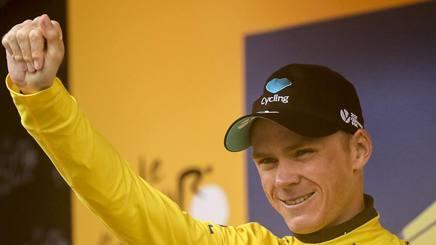 Chris Froome, 31 anni, su podio di Morzine. Getty