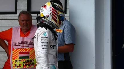 Lewis Hamilton, 31 anni, alla fine delle Q3 del GP d'Ungheria. Lapresse