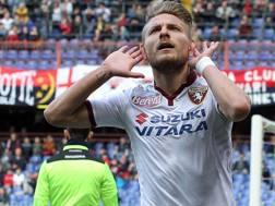 L'attaccante della Lazio Ciro Immobile, 26 anni. LaPresse