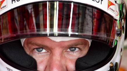 Il pilota della Ferrari Sebastian Vettel, 29 anni, durante il GPd'Ungheria. Afp