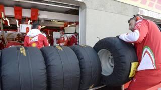 Pneumatici Ferrari durante il GP del Canada. Colombo