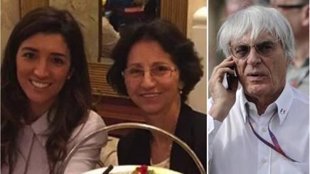 Fabiana Flosi con la madre Aparecida e, a destra, Bernie Ecclestone