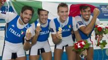Il meraviglioso 4 senza di Aiguebelette ai mondiali di canottaggio 2015, a Rio senza Matteo Lodo. Epa