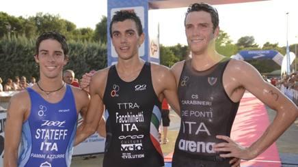Il podio maschile da sinistra: Stateff, 2� e titolo under 23, Facchinetti, 1� , De Ponti, 3� PIZZOLATO