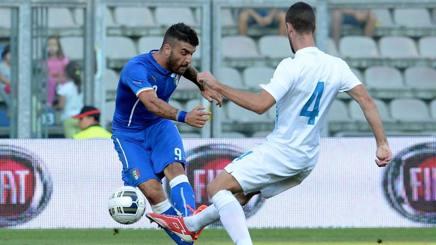 Gaetano Monachello con la maglia dell'Under 21, a settembre contro la Slovenia. Getty Images